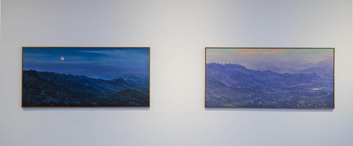 Amanecer (la cordillera desde El Colegio) | 1960 | Pintura (óleo sobre tela) | 70 cm x 149,5 cm La noche (región de La Mesa) | 1960 | Pintura (óleo sobre tela) | 70,5 cm x 150 cm